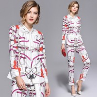 2019 New Runway Fashion Chain Printed Suit Sets 2 Piece Bow Collar Full Sleeve Shirt Top + Belt Pencil Pants Sets For Women gift