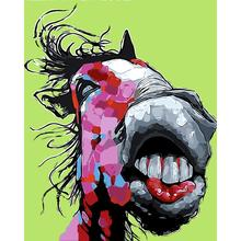Animals DIY Painting By Numbers Kits Poster Pictures Paint Canvas Coloring Paintng For Home Wall Decor Funny Horse
