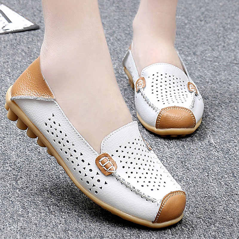 5bd9a19559a0 Women Ballet Flats Genuine Leather Loafers Square Toe Moccasins Femme Slip  On Shallow Casual Shoes Chaussures