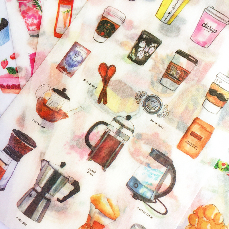 6 Sheet /Pack Delicious Drink Coffee Adhesive DIY Paper Stickers Stick Label Notebook Album Decoration Stickers