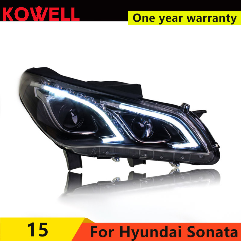 KOWELL Car Styling For Sonata 9 2015 2016 2017 LED headlights Angel eye led DRL front