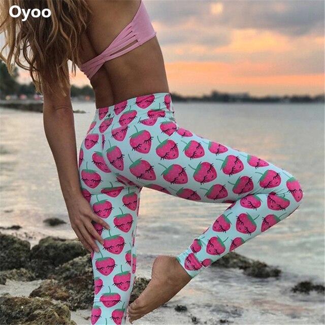 68a11da030db5 Oyoo Funny Strawberry printed athletic yoga leggings women running sport  tights girls baby blue pineapple fitness legging