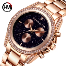 HM watch new ladies rose gold fashion diamond waterproof quartz steel belt calendar wrist women