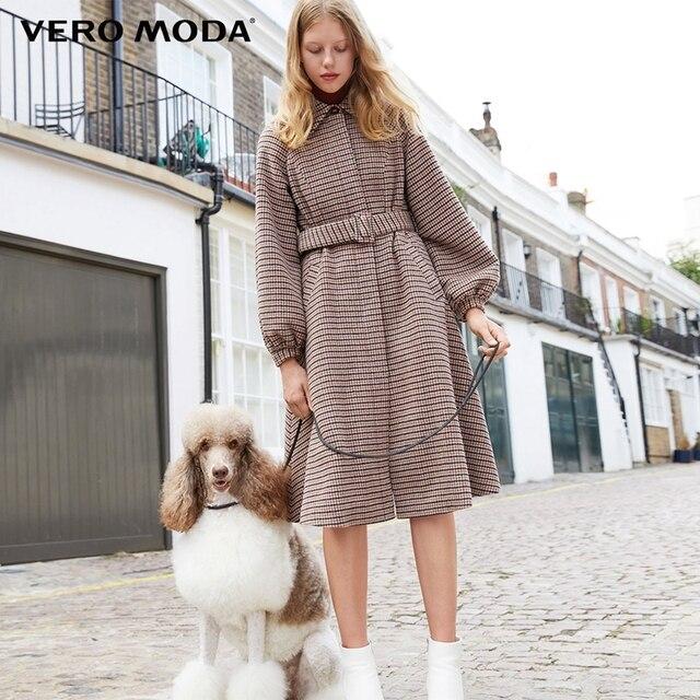 Vero Moda шерстяное пальто трапециевидной формы с рисунком «гусиные лапки» из 100% шерсти | 318427517