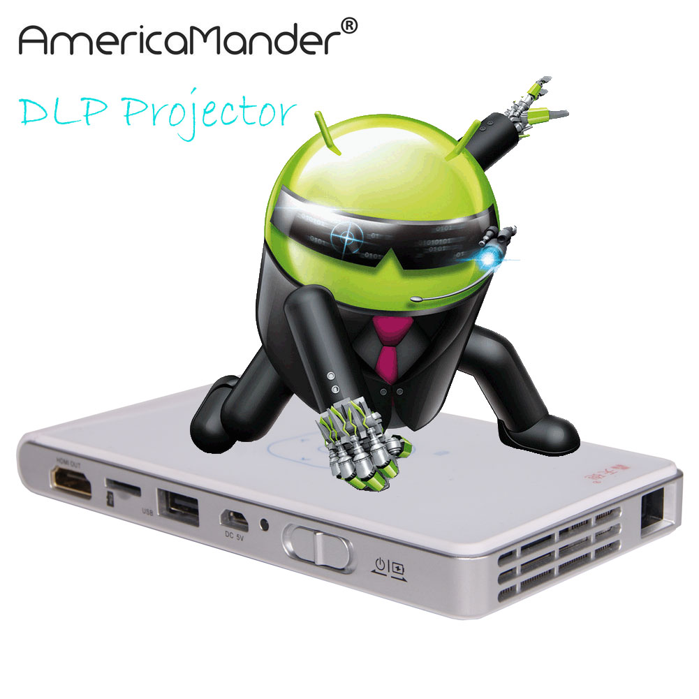 MINI LED LCD 3D Android 4.4 Projector DLP WIFI Wireless Projector 854x540 Support 1080P Home Theater Mini Portable Projector