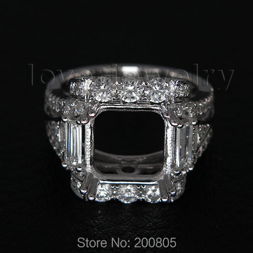 Vintage Princess 9x9mm Solid 18Kt White Gold Diamond Semi Mount Ring For Sale WU204 vintage oval 7x9mm solid 18kt white gold diamond semi mount pendant wholesale fine jewelry for girl wp025