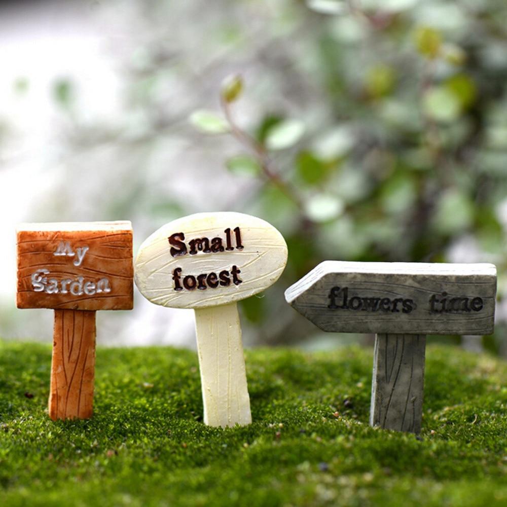 3Pcs Fairy Garden Moss Terrarium Decor Resin Signboard Miniatures Sign Board Bonsai Figurines Micro Landscape Crafts