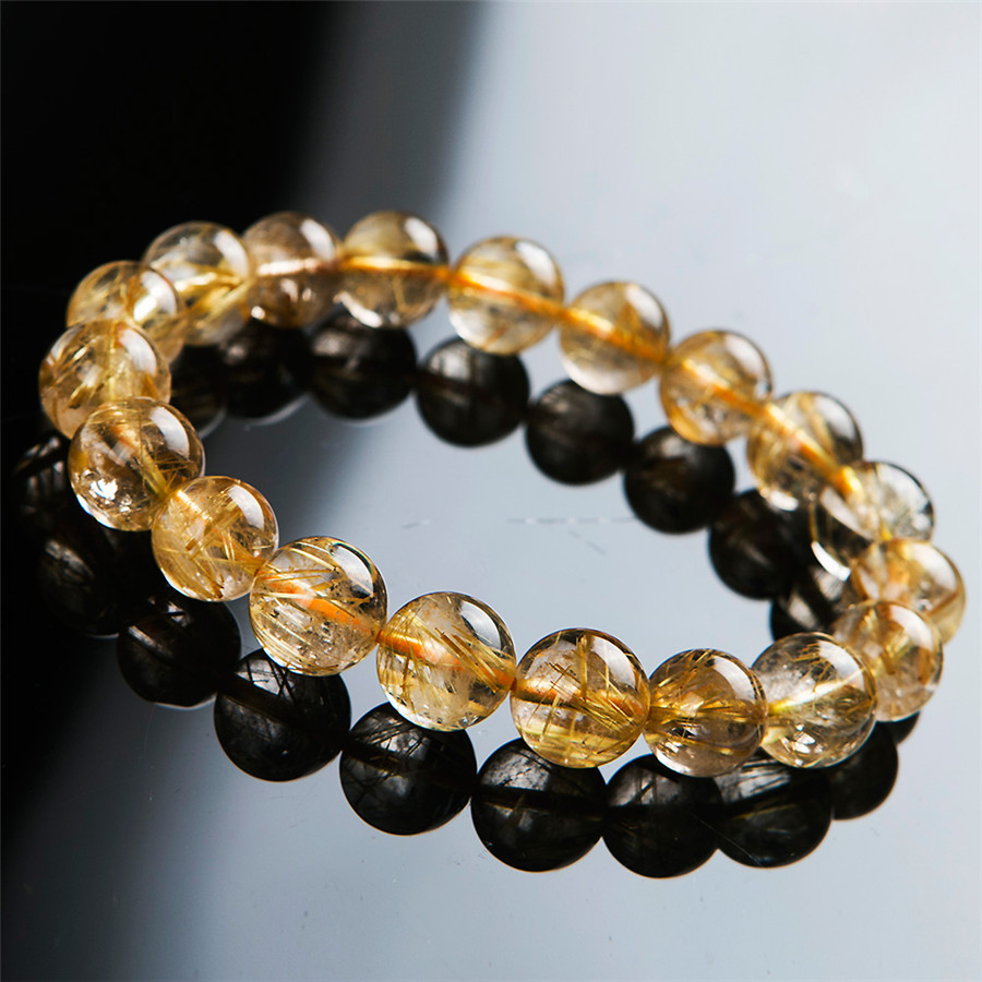 Genuine Natural Yellow Gold Rutilated Quartz Crystal Round Bead Stretch Charm Bracelets 11.5mm