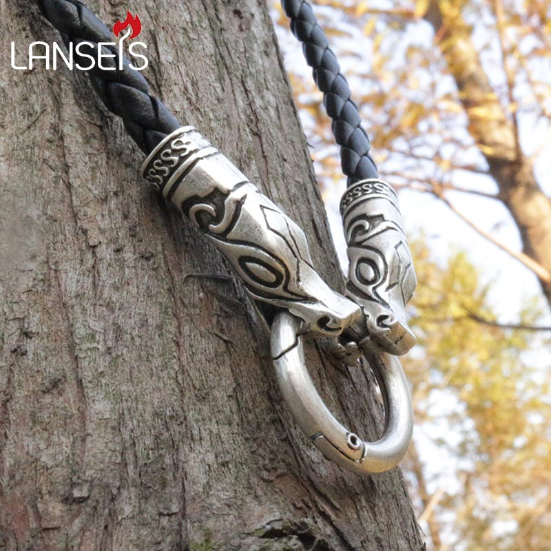 lanseis 1pcs viking wolf chain leather necklace men necklace