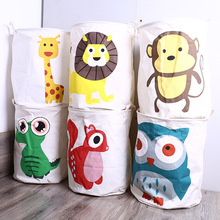 40*50Cm Cotton Fabric Folding Laundry Basket Bag Dirty Clothes Pouch Cartoon Toy Sundries Storage Basket Box Bathroom Product