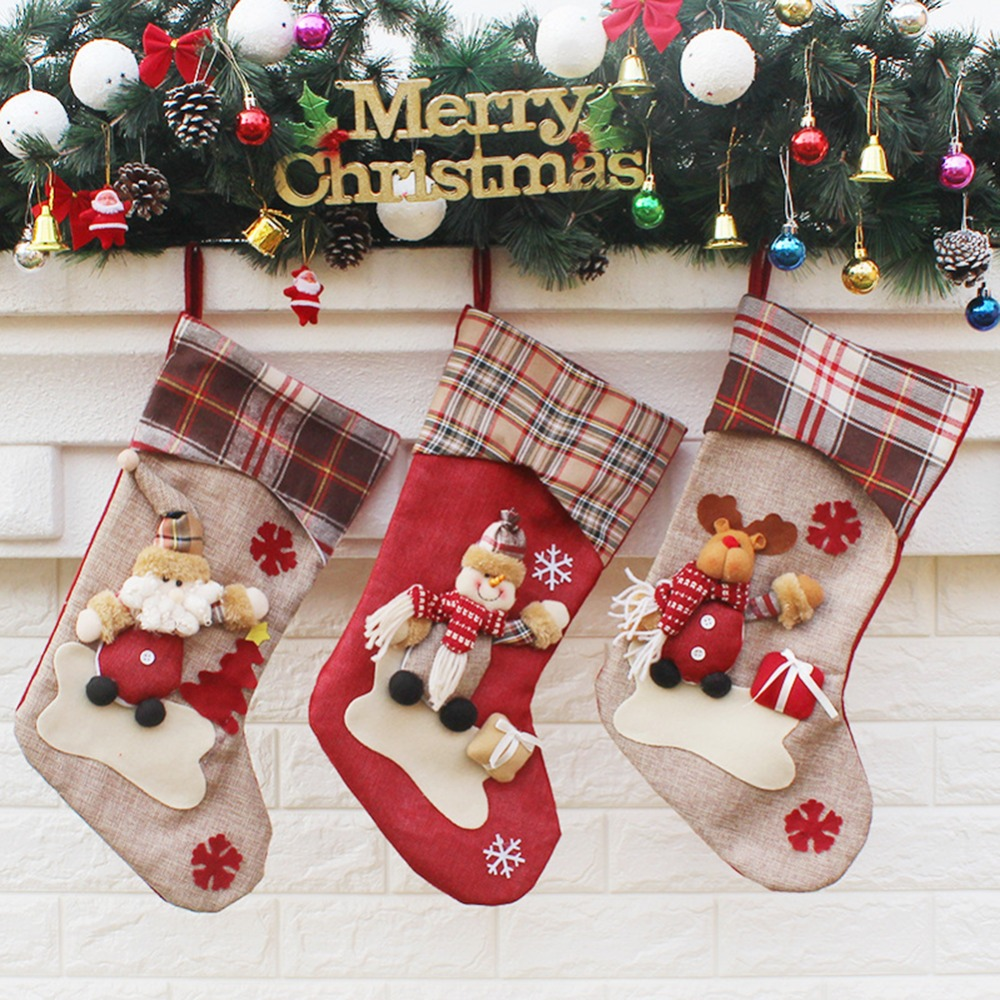 embroidered christmas stocking sock gift candy hanging bag santa claus snowman hotel home decoration christmas xmas in stockings gift holders from home