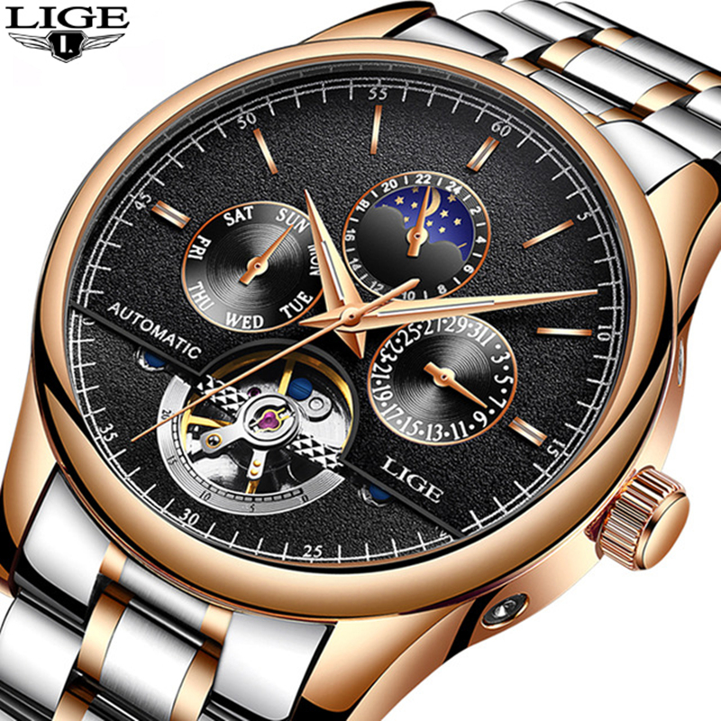 LIGE Brand Men watches Automatic mechanical watch tourbillon Sport clock full steel Casual business wristwatch relojes hombre цена