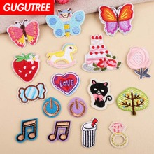GUGUTREE embroidery note buttlefly trees patches cats strawberry badges applique for clothing YX-251