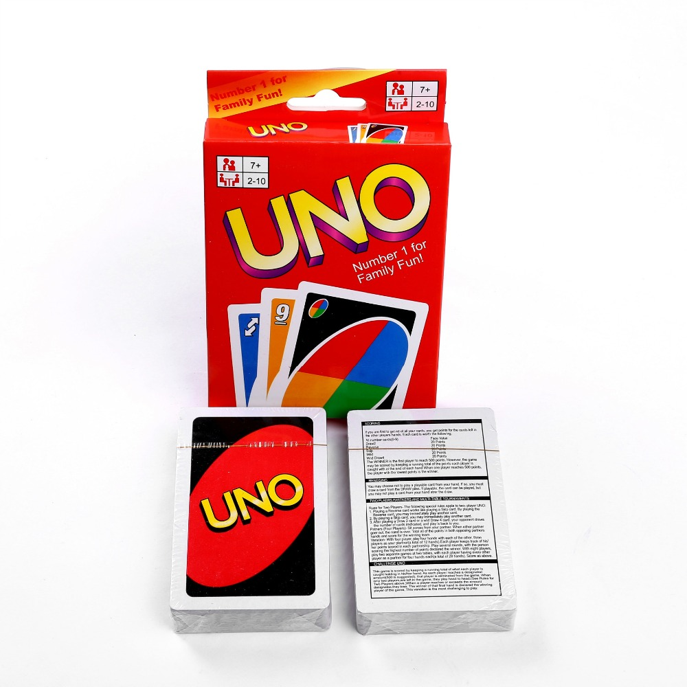 2019 New UNO Playing Cards Family Children Friends Board Game Fun Poker Playing Puzzle Intelligence Game 108 cards/set