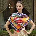 130*130 cm 2017 de la bufanda de lujo de mujer de marca Bufanda de Seda de la impresión del caballo grande Mantón de la bufanda cuadrada de Seda de la tela cruzada de la manera pashmina