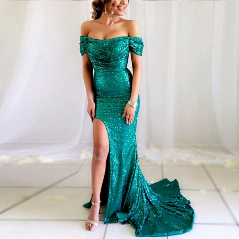 Popular Sequin Prom Gown Mermaid Side Split Evening Dress for Wedding Party Robe De Soiree Custom Made