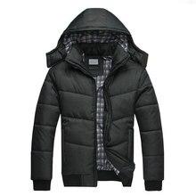 2018New Твердые капюшоном Для мужчин зимние куртки Повседневные куртки Для мужчин пальто Толстые Термальность блестящие пальто Slim Fit брендовая одежда большой Размеры 4XL
