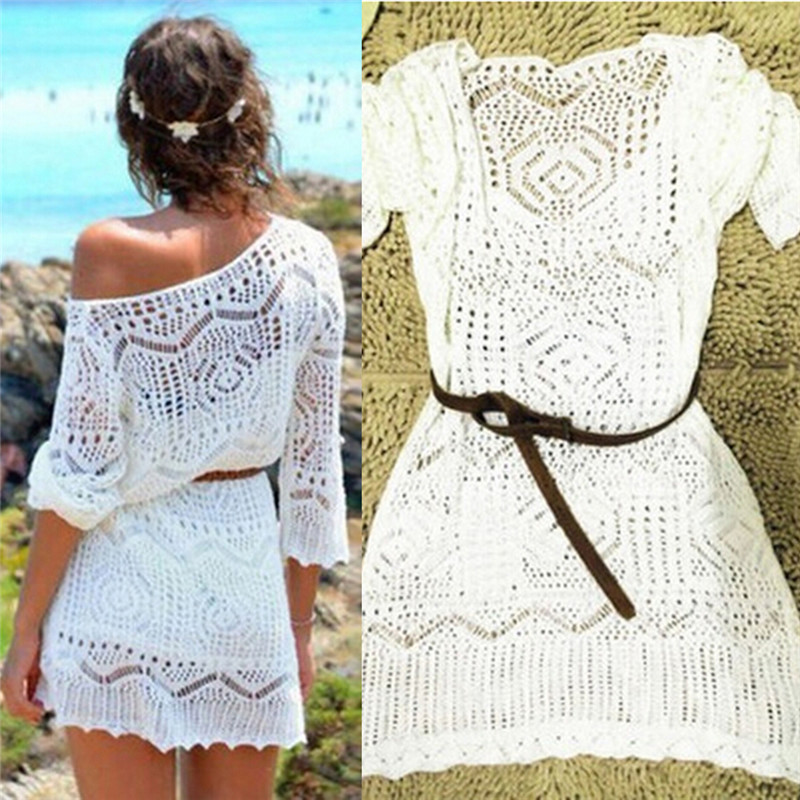 Women Beach Style Summer Dress Women Hollow Out White V Neck Mini Lace Dress Elegant Dress With Belt