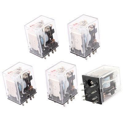 HH52PL AC 110/120V Coil 8 Pins DPDT Red LED Indicator Light Power Relay 5 Pcs panel mounted dpdt 8p 10min 0 10m timing time relay ac 220v w led indicator