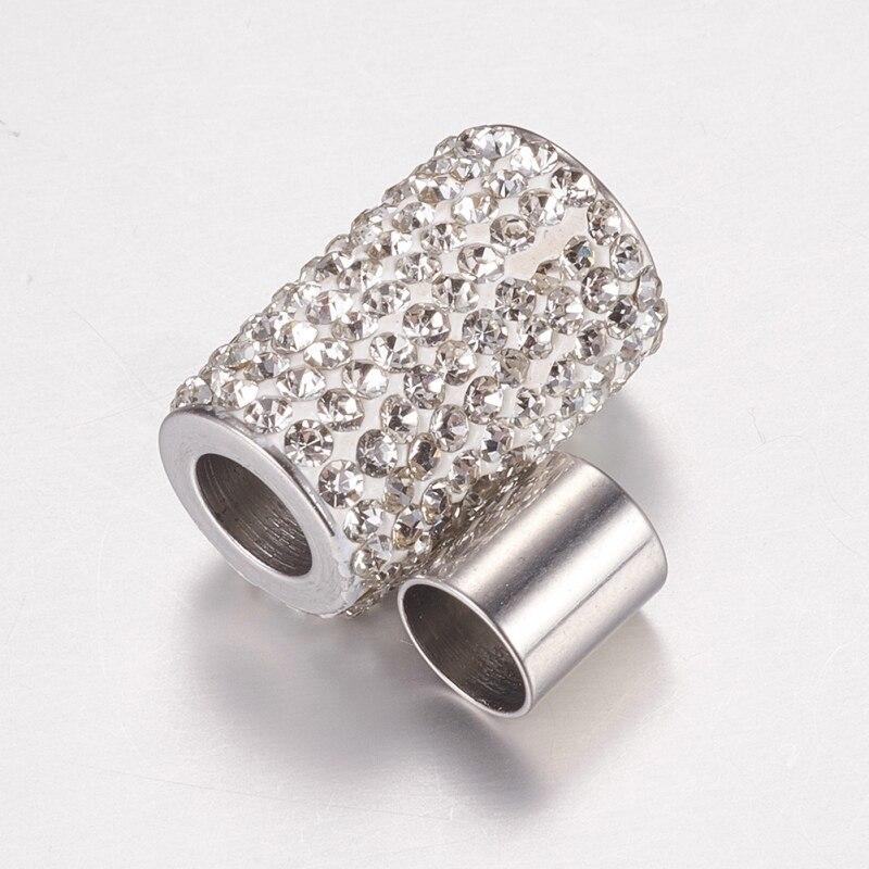 10 ensembles 304 fermoirs magnétiques en acier inoxydable strass, colonne, cristal, 18x12mm, trou: 6mm F80 - 2