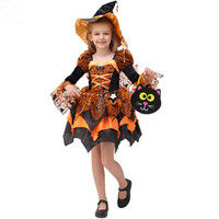 Orange Witch Dress For Girls Halloween Cosplay Costumes For Girls Halloween Witch Clothing Funny Party Cosplay