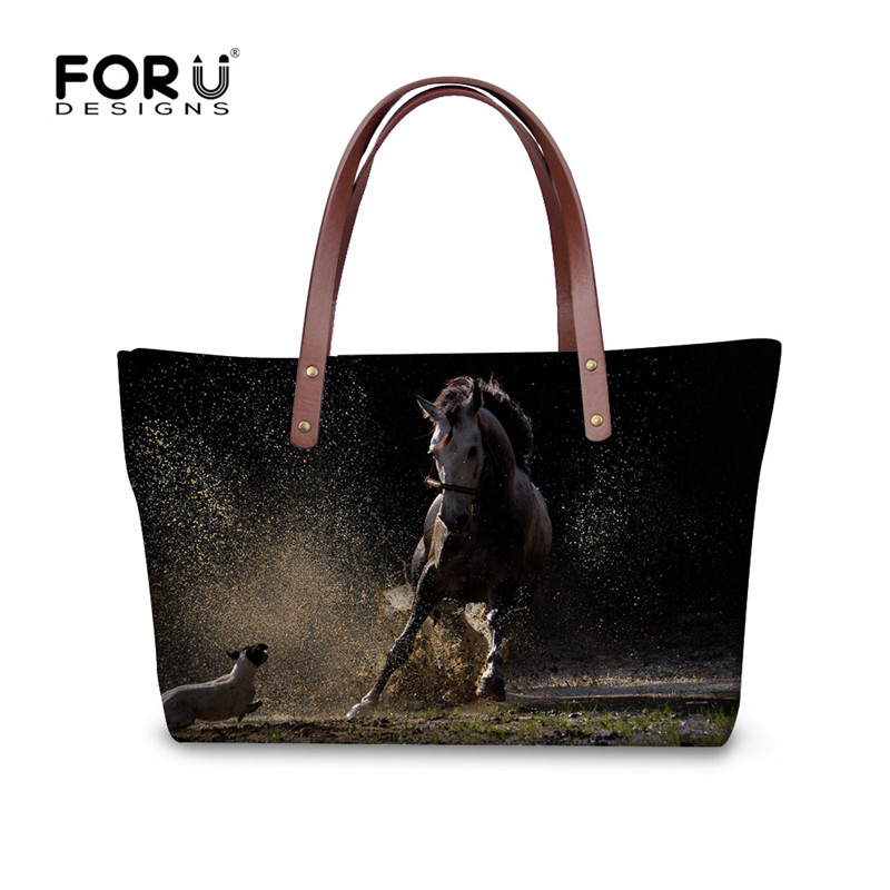 FORUDESIGNS Luxury Designer Women Handbags Crazy 3D Horse Print Messenger Bags for Ladies Big Capacity Girls Tote Cross-body Bag свитшот print bar crazy