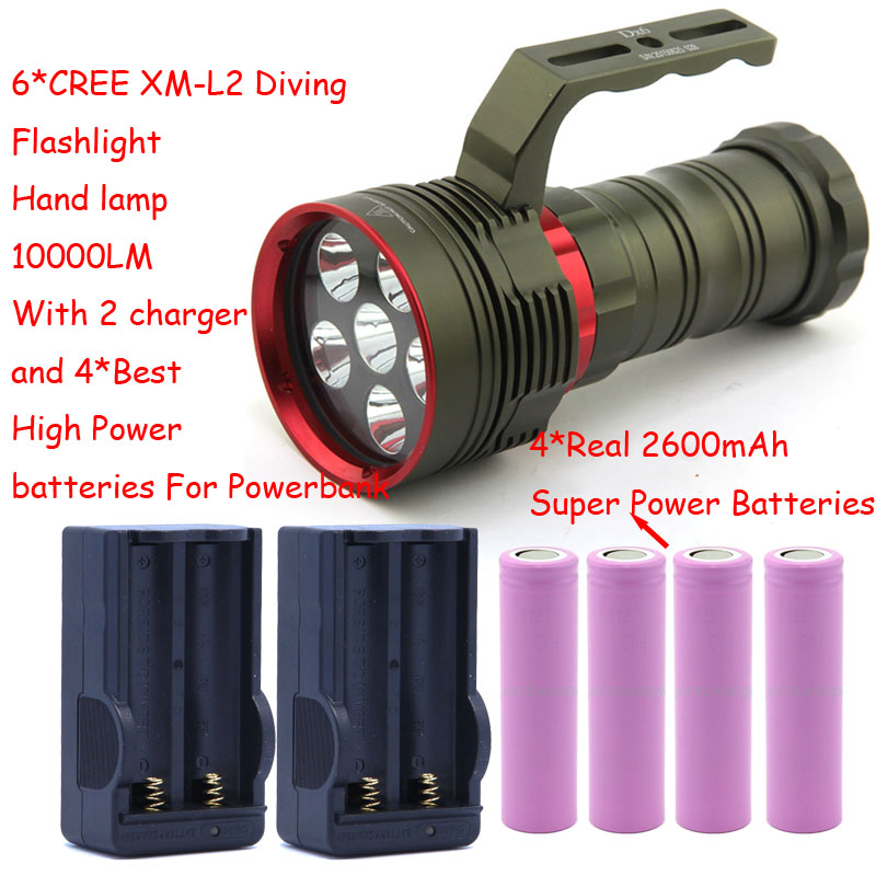 10000 Lumens Underwater Diving Flashlight 6x CREE XM-L2 LED Light Hand Lamp Handlamp Torch lantern With 4 Battery&Charger new 20000 lumens high power 10t6 led 10 x cree xm l t6 led flashlight torch lamp light lantern with 4 batteries