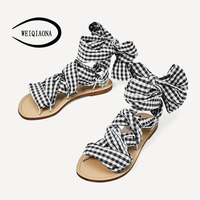 WEIQIAONA 2018 New Summer Fashion Women Shoes Rome Style Cotton Stripe Straps Flats Heels Sweet Ladies
