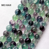 Free Shipping 2 Strands Set Natural Charms 10mm Colorful Fluorite Smooth Round Beads Stone Wholesale