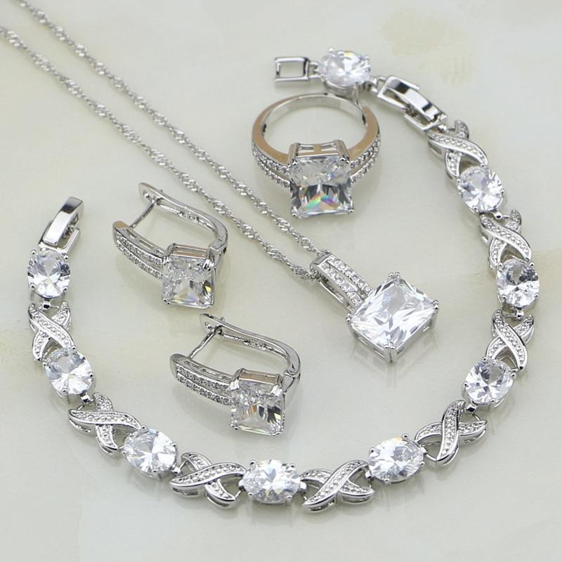 Square 925 Silver Jewelry White Cubic Zirconia Conjuntos de joyería - Bisutería - foto 1