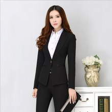 Office Uniform Designs Women Two Piece Pants Suits Work Womens Business Suits Set Female Formal Suits With Pants Black S-XXXL