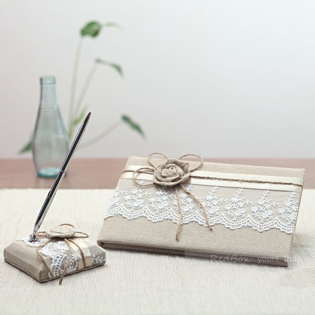 2pcs Set Linen Lace Flower Wedding Guest Book Pen Creative Supplies Autograph