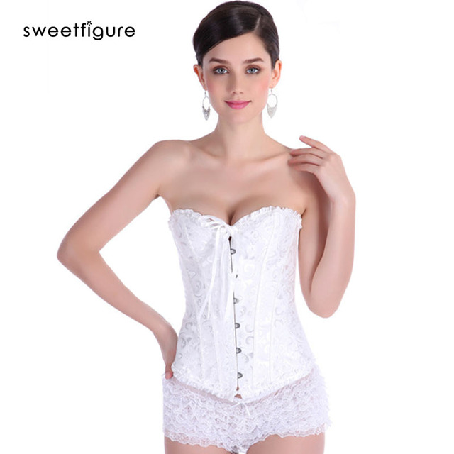 f62d4f27737 Women Corsets And Bustiers With Lace Trainer Buties White Underbust Corset  Steel Cincher Bustier Boned Short Corselet