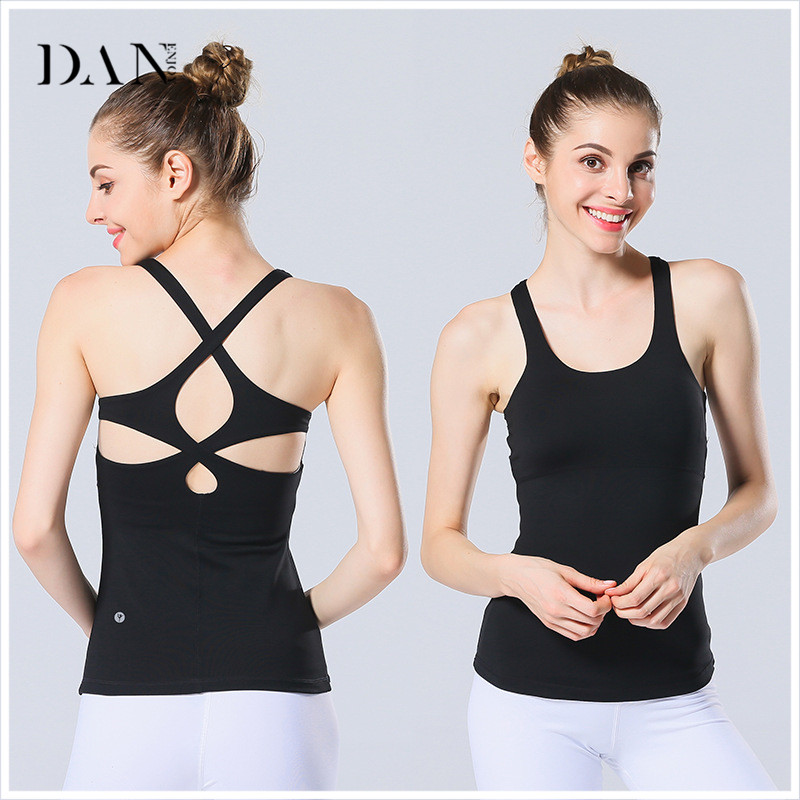 DANENJOY Women Yoga&Gym Pink Top T Shirts Padded 2017 Sexy Open Cross Back Workout Tank Top Yoga Fitness Sports Tank Tops Nylon
