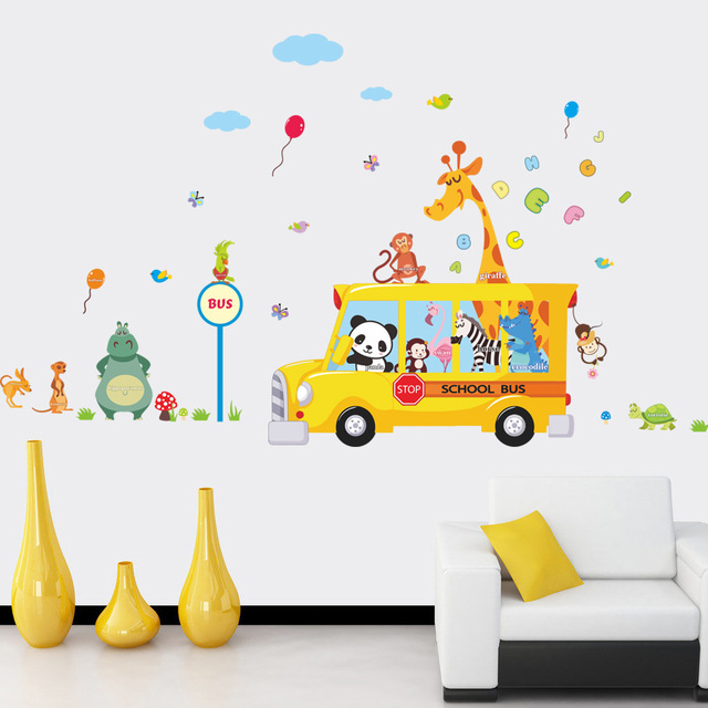 Cartoon Animals School Bus Wall Stickers For Kids Rooms Panda Monkey Giraffee Turtle Nursery Room Decor