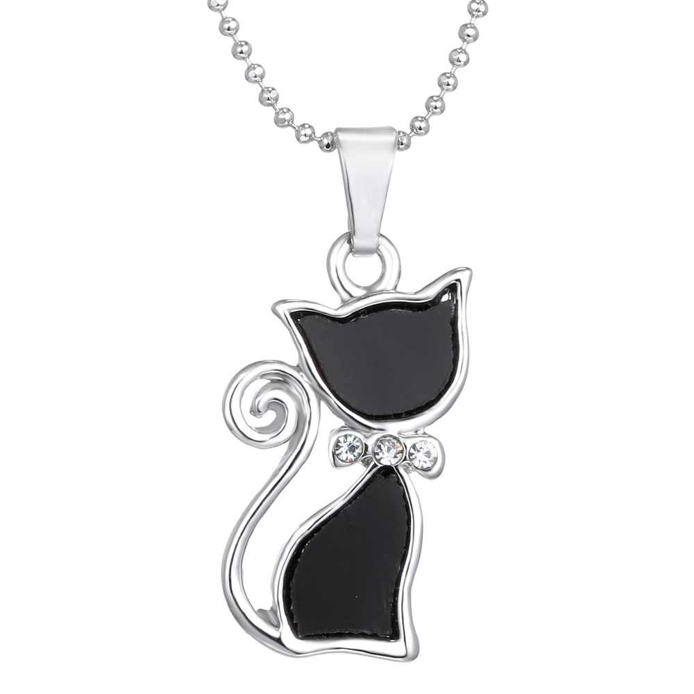Silver Plated Rhinestones Crystal Cute Cat Pendants Necklaces Fashion Summer Choker Bowknot Necklaces for Lady Animal Black