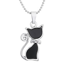 2015 Silver Plated Rhinestone Crystal Cute Lovely Cat Necklaces Pendants Fashion Jewelry Black Necklace For Women