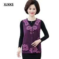 XJXKS Women Sweater Vest Cardigan Colete Knitted Chaleco Mujer Middle aged Woman Plus Size Waistcoat With Pockets