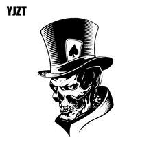 YJZT 11.3*17,6 CM Schöne Joker Skeleton Schädel Spielkarten Poker Monster Hut Auto Aufkleber Vinyl C12 0010