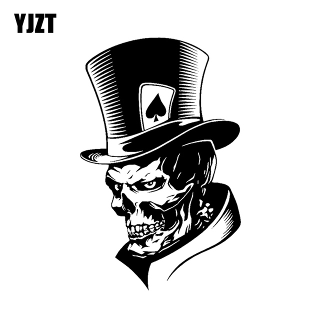 YJZT 11.3*17.6CM Lovely Joker Skeleton Skull Playing Cards Poker Monster Hat Car Sticker Vinyl C12 0010