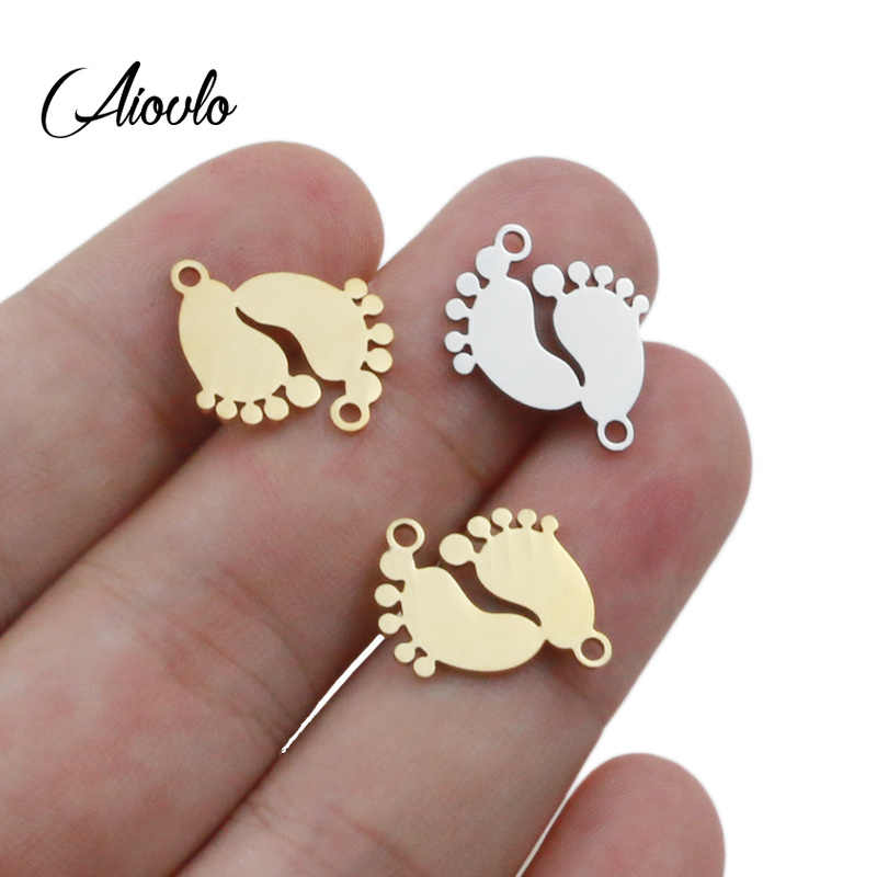 Aiovlo 5pcs/lot Stainless Steel Charm Pendants Cute Lovely Baby Feet DIY Metal Bracelet Necklace Jewelry Findings Accessories