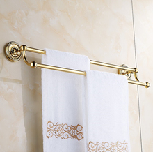 2016 Bathroom accessories, Brass Material Vintage Double Towel Bar&Gold finish Towel Rack /  Fashion Creative Design Style