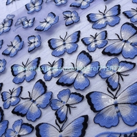 120cm By Yard Super High Quality 3d Pink Butterfly Embroidery Fabirc For Wedding Dress Clothing Accessories