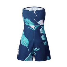 Tropical Print Playsuit Casual off Shoulder Sexy Bodysuit Women Shorts Boho Jumpsuit vestido Summer Style Overall Beach Romper
