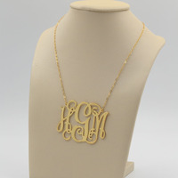 Gold 2 Inch Big Monogram Necklace Necklace Custom 3 Initial Necklace Personalized Large Monogram Satement Necklace