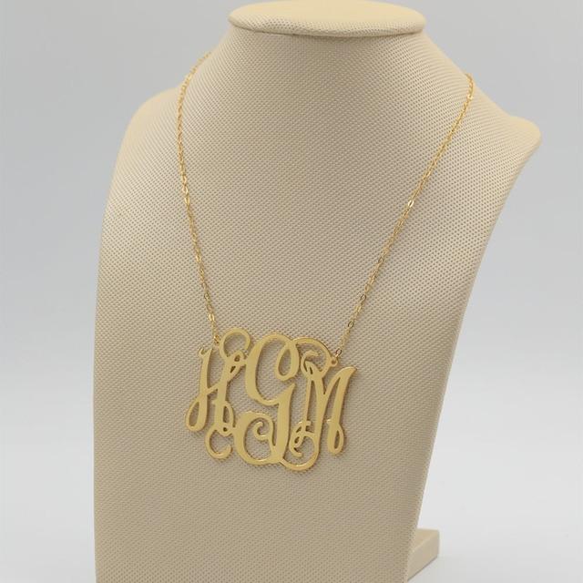 Aliexpress buy big monogram necklace necklace custom 3 initial big monogram necklace necklace custom 3 initial necklace personalized large monogram satement necklace hip hop aloadofball Images
