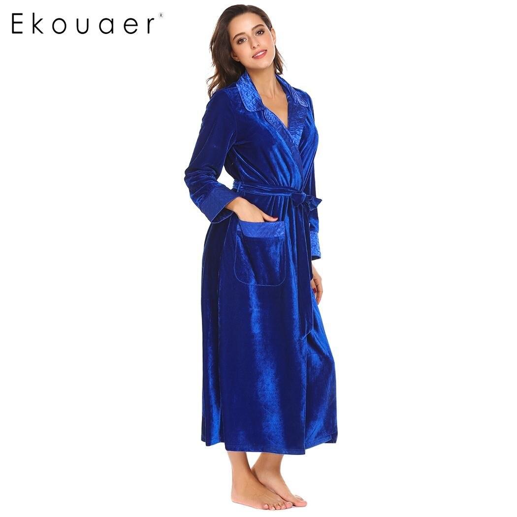 Ekouaer Flannel Robe Silk Long Women Dressing Gowns Long Sleeve ...