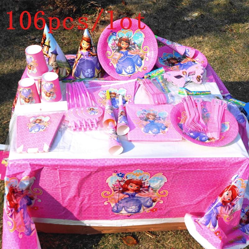 106Pcs/Lot Disney Princess Sofia Design Pink Disposable Tableware Girls Birthday Party Decoration For Family Party Supply106Pcs/Lot Disney Princess Sofia Design Pink Disposable Tableware Girls Birthday Party Decoration For Family Party Supply