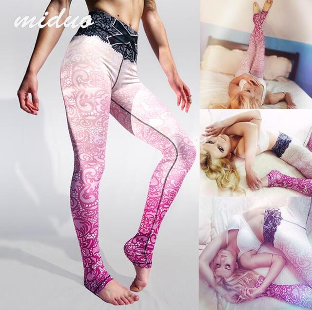 2016 Women Fashion Legging Aztec Round Ombre Printed calzas deportivas mujer leggins Slim High Waist Legins Pants
