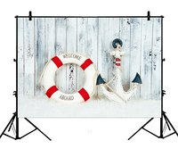 5x7ft Aboard Life Buoy Anchor Wood Seaside Polyester Photo Background Portrait Backdrop